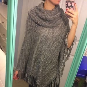 Grey and white wooly poncho